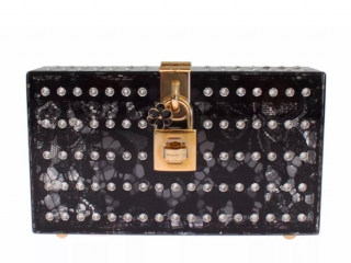 Dolce & Gabbana Lace Print Crystal Embellished Box Clutch