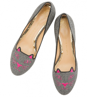 Charlotte Olympia houndstooth kitty flats
