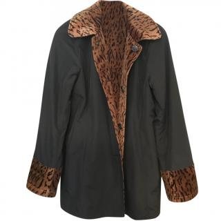Dennis by Dennis Basso reversible black and animal print jacket
