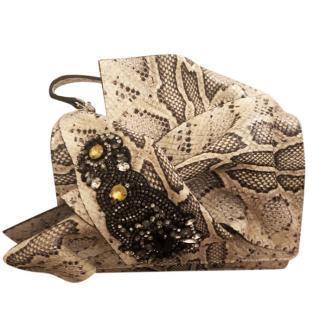 No.21 bow crystal embroidered shoulder bag