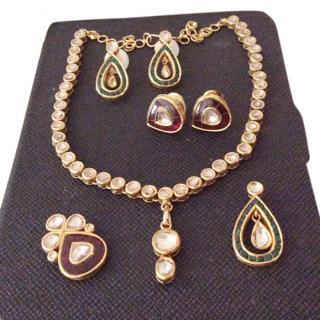 Bespoke gold necklace & earrings set