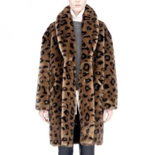 Line Faux Fur Leopard Print Coat