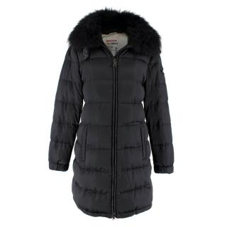 Prada Black Puffer Coat with Fur Collar