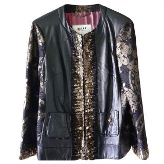 Bazar Deluxe Embroidered Leather Jacket