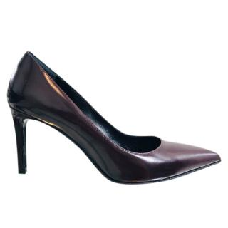 Saint Laurent Burgundy Patent Pointed Pumps