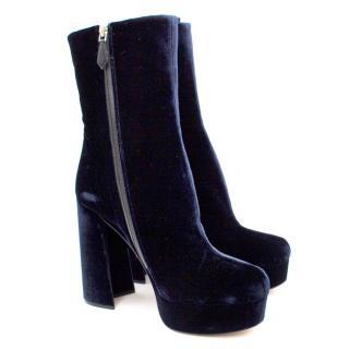 Miu Miu Blue Velvet Platform Ankle Boots