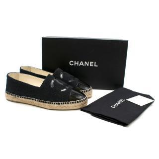 Chanel Black Patent CC Espadrilles