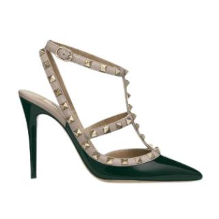 Valentino Rockstud dark green pumps
