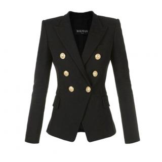 Balmain Double Breasted Black Cotton Blazer