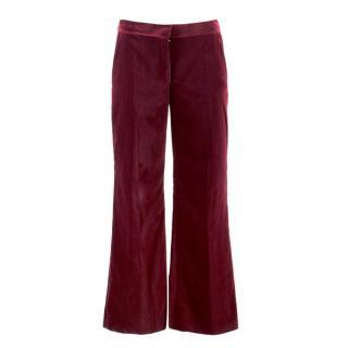 Stella McCartney Burgundy Velvet Trousers