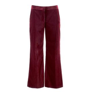 Stella McCartney Burgundy Velvet Trousers