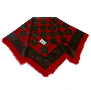 Yves Saint Laurent YSL Red Scarf