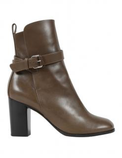 Celine Brown Leather Ankle Boots
