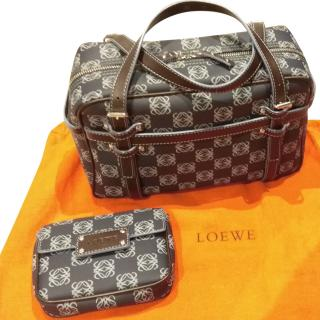 LOEWE navy logo fabric bag