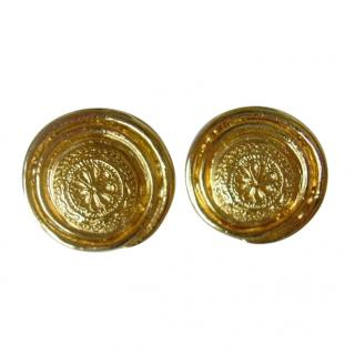 Yves Saint Laurent Floral Swirl Clip Earrings