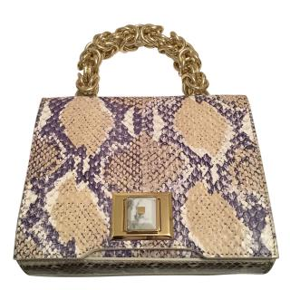 Andrew GN mini brief 100% Colubro bag NEW .snakeskin leather