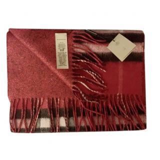 BURBERRY Metallic Reversible Cashmere Scarf