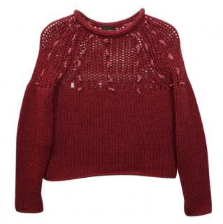 Just Cavalli Red Chunky Cable Knit Warm Jumper