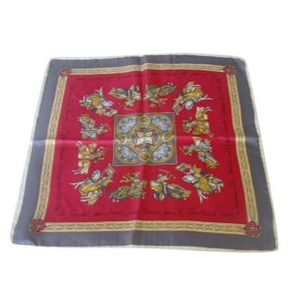 Christian Dior Knight Motif Silk Small Scarf