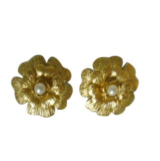 Chanel Camilla Flower Pearl Center Clip Earrings