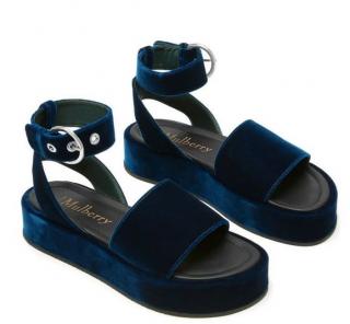 Mulberry Chunky Ankle Strap Navy Velvet Sandals