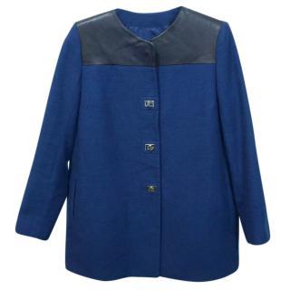 Sandro Cotton Leather Yoke Blue Coat