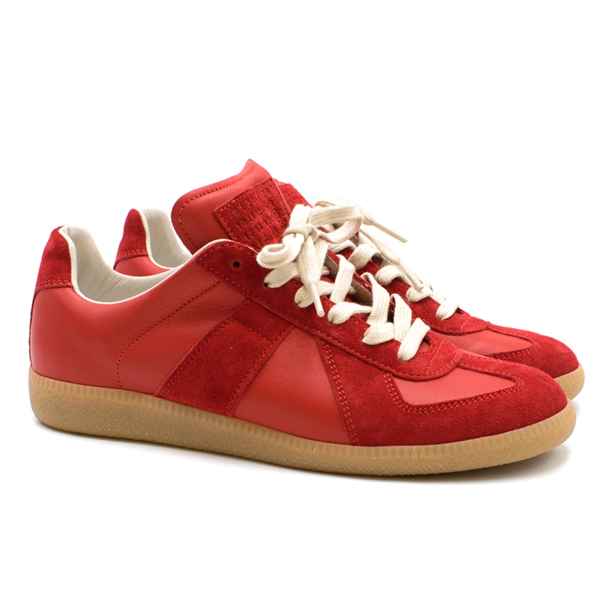 fc78608225c3 Maison Margiela Red Calfskin Suede Replica Sneakers | HEWI London
