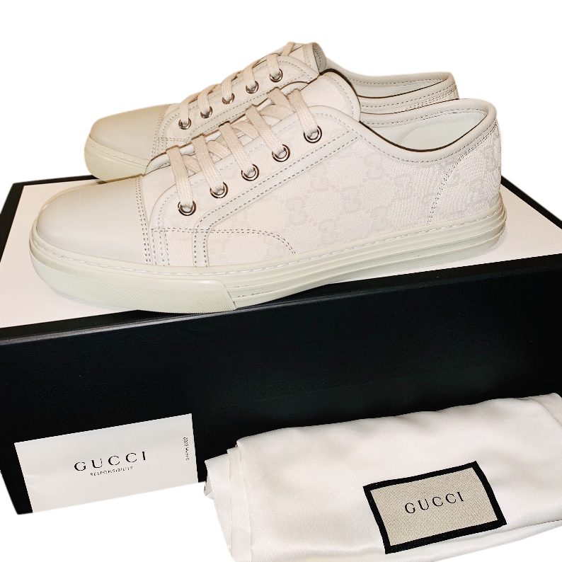 56e5d43ed5f Gucci Low Top Gg Cotton Washed Bianco Trainers