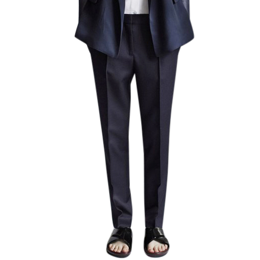 Celine Navy Flat Front Straight Leg Trousers