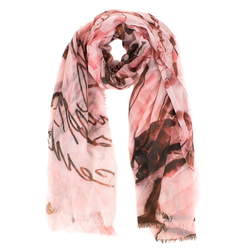 Chanel Rose Pink Quilted Patterned Cashmere Scarf