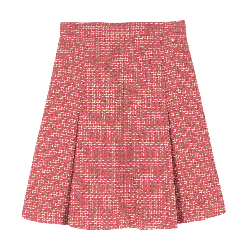 Chanel Tweed Pleated A-line Skirt