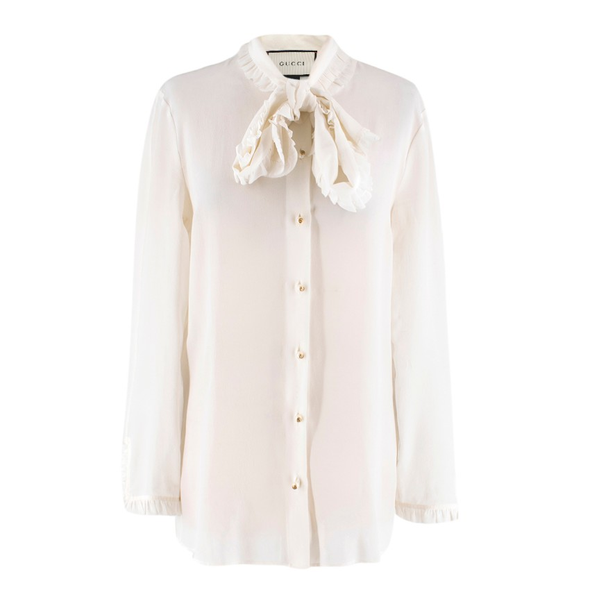 6d8eb1fc1 Gucci Offwhite Silk Pussybow Ruffle Blouse | HEWI London