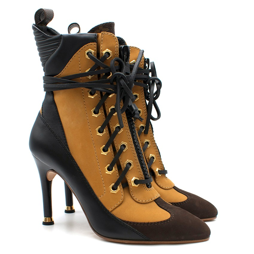 Louis Vuitton Heeled Lace-up Ankle Boots