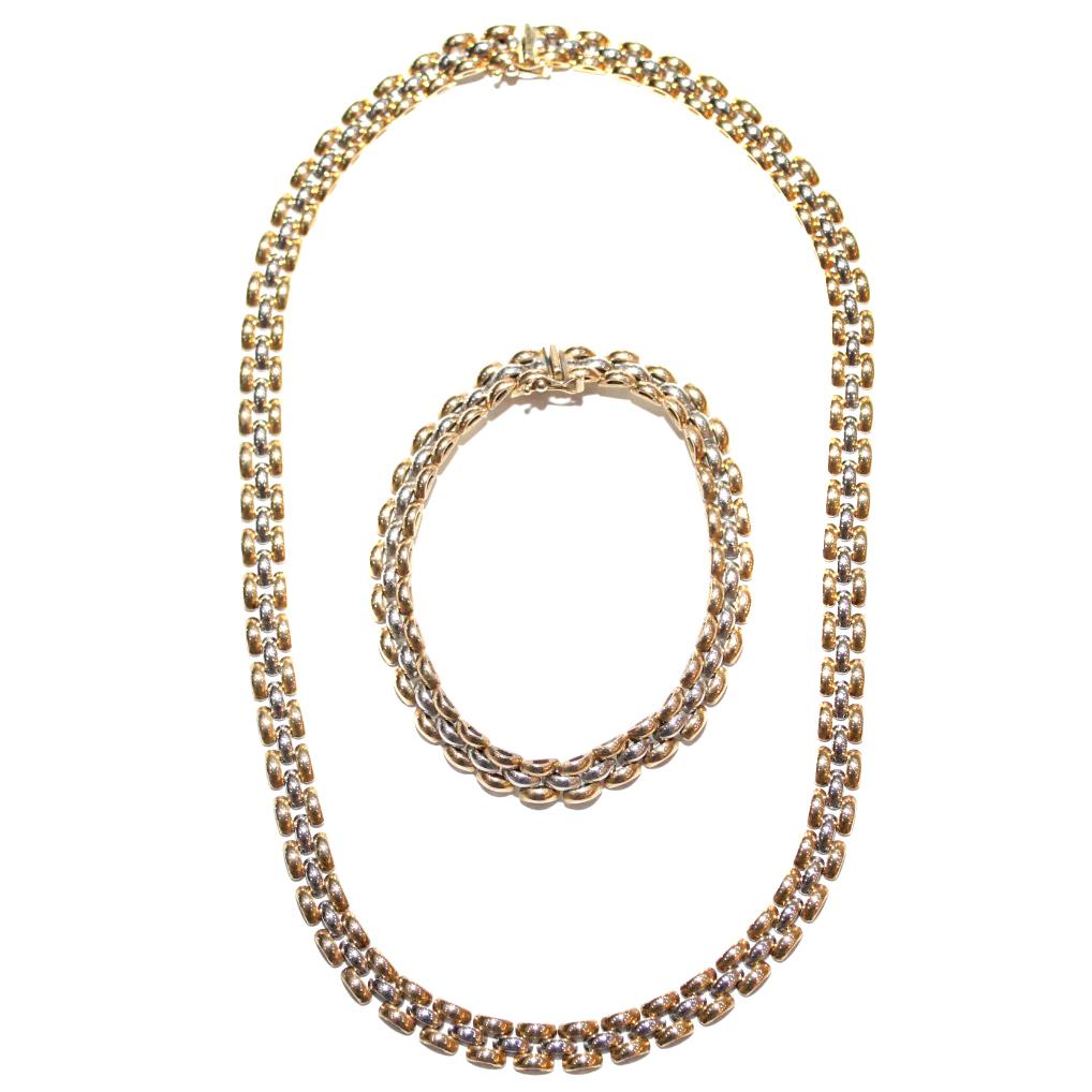 Bespoke Two Tone White & Yellow Gold Necklace & Bracelet Set