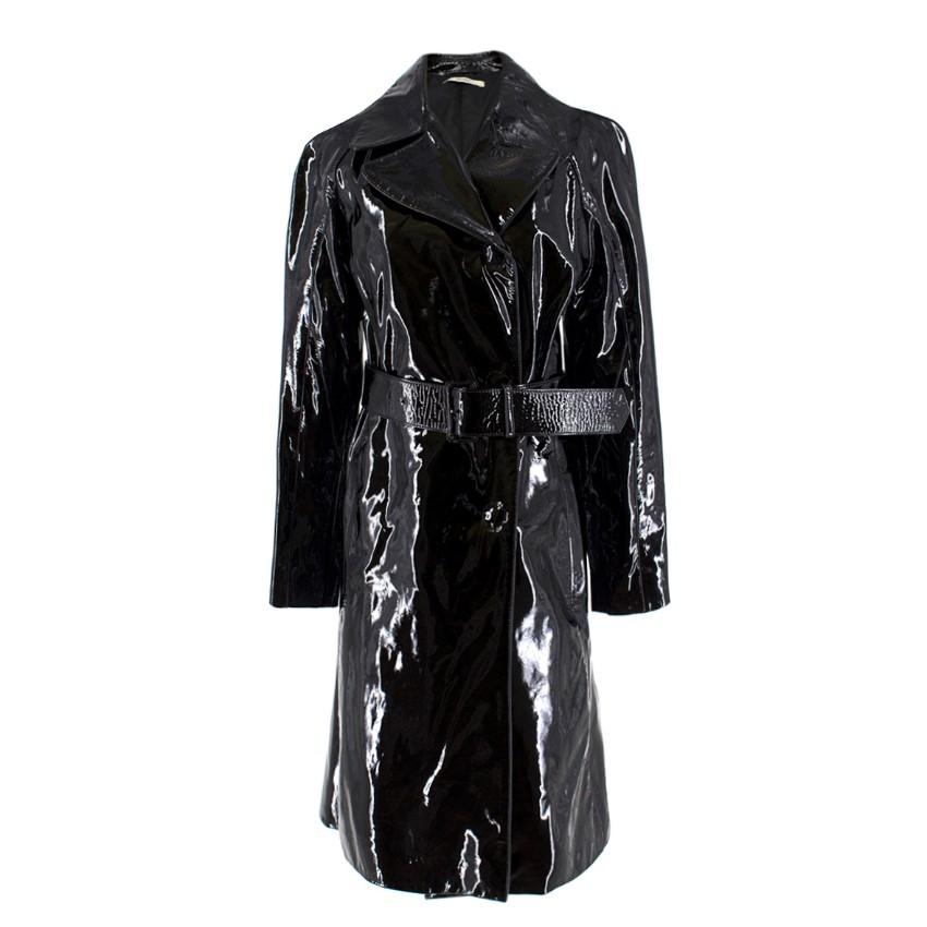 a704c65f244c Prada Black Patent Leather Trench Coat