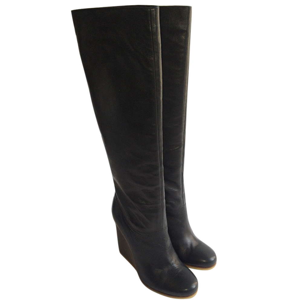 3d2039c5d Lanvin Calf Leather Knee High Wedge Navy Boots