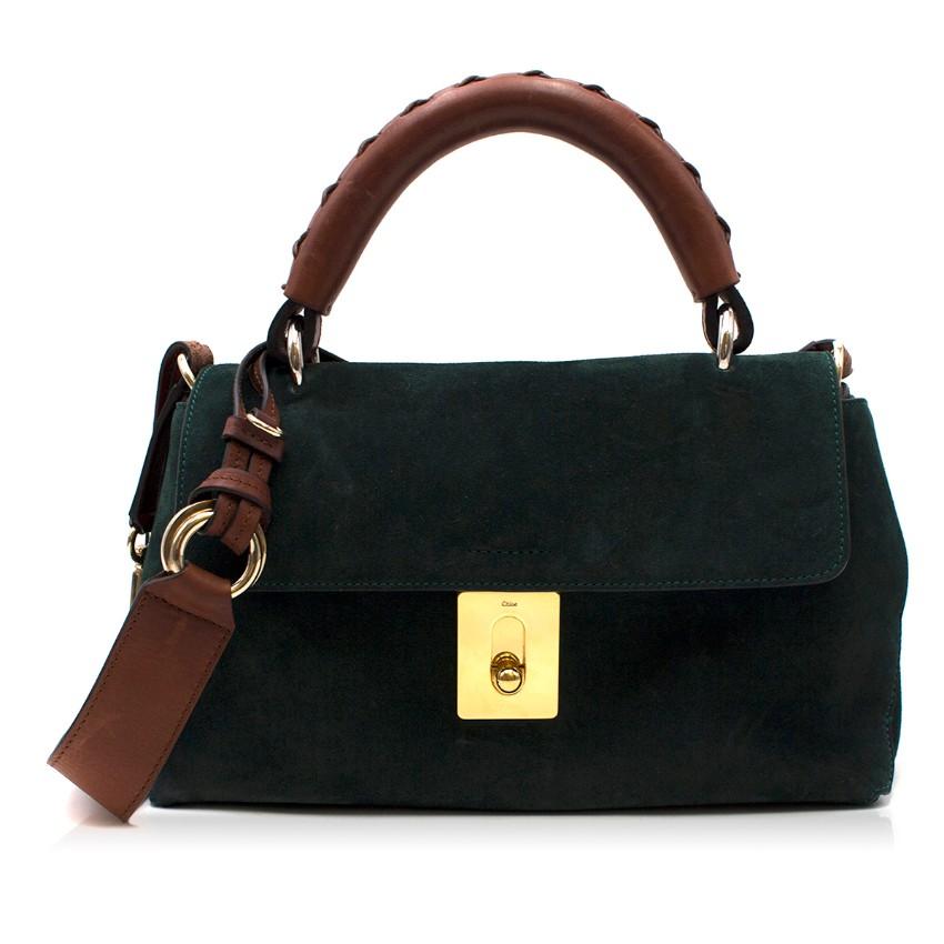 Chloe Green Suede Fedora Bag
