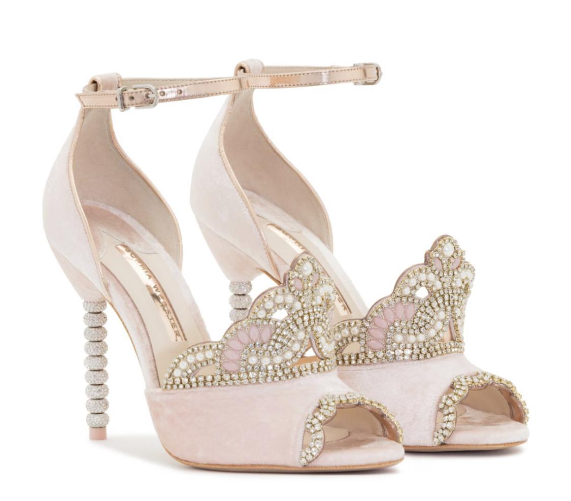 Sophia Webster Dusty Pink Velvet Royalty Sandals