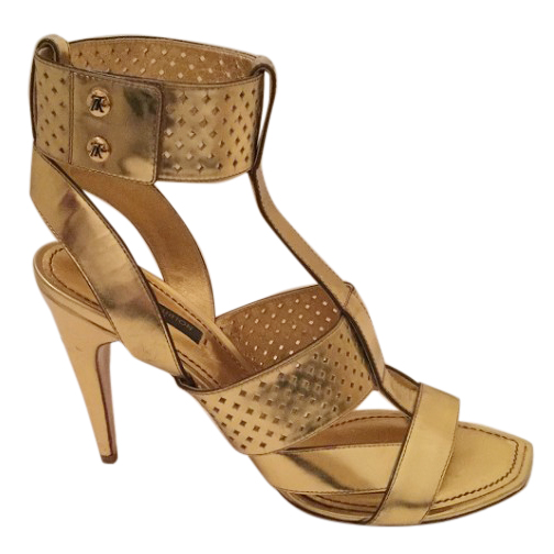 Louis vuitton gold leather perforated sandals