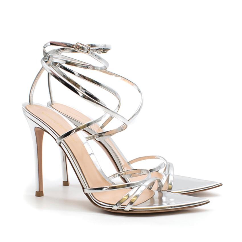 Gianvito Rossi Kim Metallic-Silver Strappy Sandals