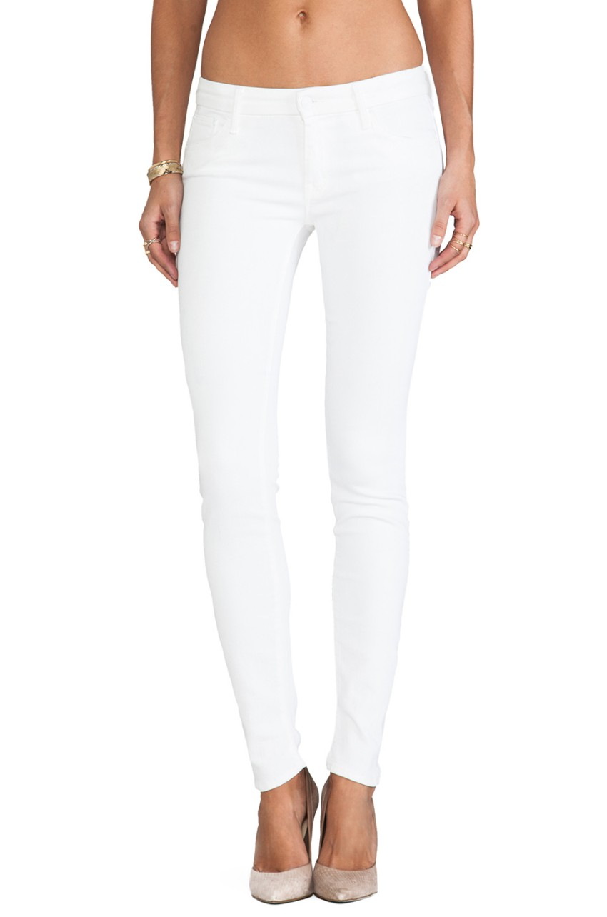 Mother white high waisted skinny jeans