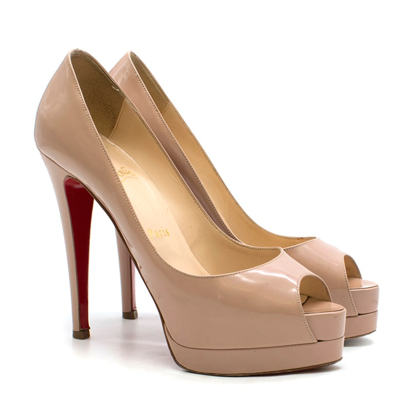 432983dc02a0 Christian Louboutin Nude Patent Leather New Very Prive 120 Pumps ...