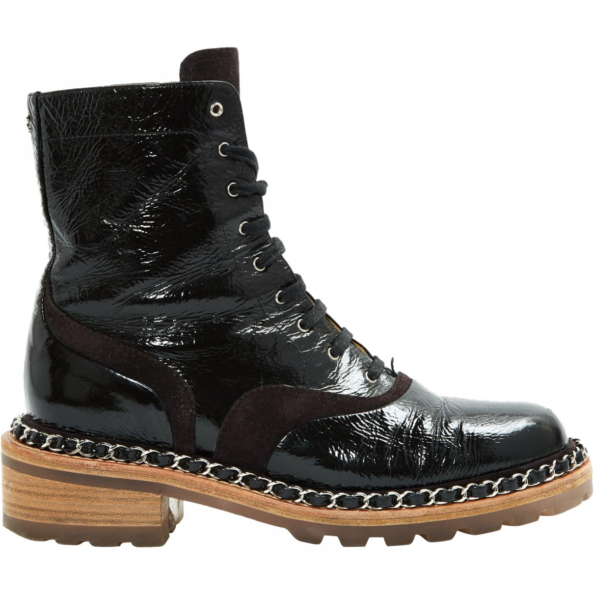 Chanel Patent & Suede Chain Trim Boots