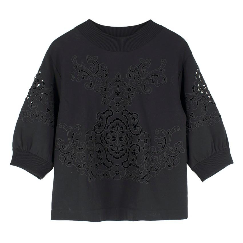 Dolce & Gabbana Black Cut-Out Embroidery Sweatshirt