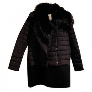 Moncler black coat with raccoon collar