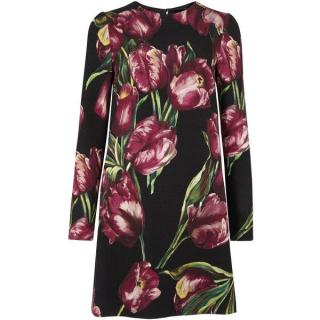 Dolce & Gabbana Tulip-print wool crepe mini dress