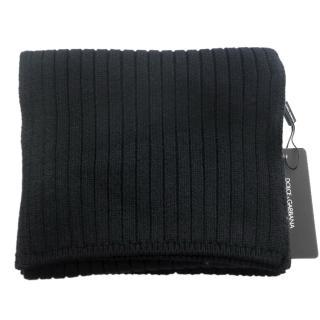 Dolce & Gabbana men's black cashmere scarf
