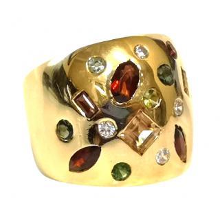 Bespoke Multi Gemstone Wide Gold Band Ring