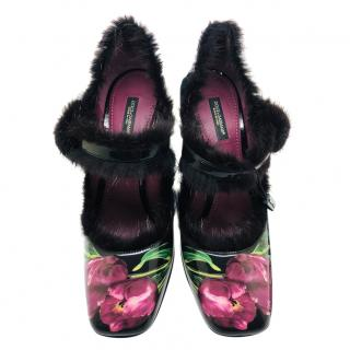 Dolce & Gabbana tulips print mink fur shoes