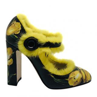 Dolce & Gabbana tulips mink fur shoes